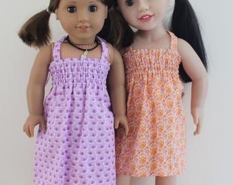 Purple OR Orange Stretchy Summer Halter Dress Doll Clothes for 18 inch dolls to 20 inch dolls such as American Girl & Australian Girl dolls