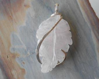 Rose Quartz  Silver Wrapped Pendant