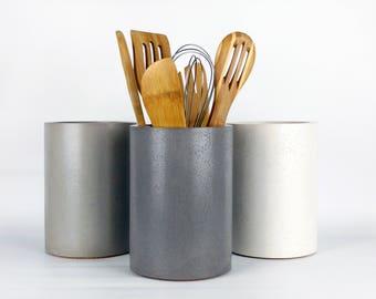 Kitchen Utensil Holder / Concrete Utensil Holder / Kitchen Utensil Crock / Kitchen Organization / Industrial Kitchen Decor / Spoon Holder
