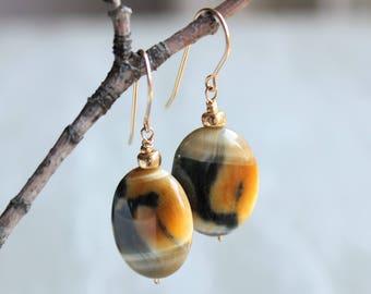 Tiger Eye Earrings, 14K Gold fill, yellow blue gemstone earrings, dangle earrings, boho statement earrings, holiday gift for her, 4345