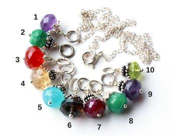 Gemstone Pendant Charm Necklace, Sterling Silver, amethyst emerald carnelian citrine blue chalcedony ruby smokey quartz peridot, gift idea