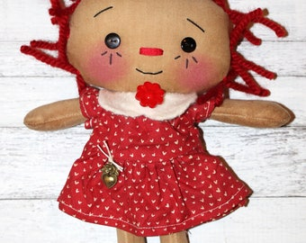 Rainbow Love Hearts Annie - Primitive Raggedy Ann Doll (HAFAIR)