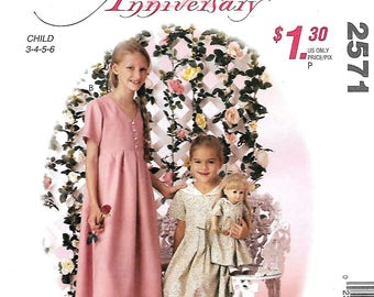 """McCall's 2571 Easy Children's And Girls Raised Waist Dress And 18"""" Doll Dress Pattern, Size 3-6, UNCUT"""