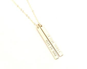 Personalized Bar Necklace - Custom 14k Gold Filled Vertical Tags - Hand Stamped Roman Numeral Dates or TEXT of YOUR Choice - Trendy Jewelry