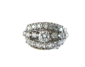 Diamond Wedding Ring, Triple Row Diamond Wedding Ring, Diamond Cocktail Ring, Diamond Dinner Ring, Stacking Ring, Diamond Ring
