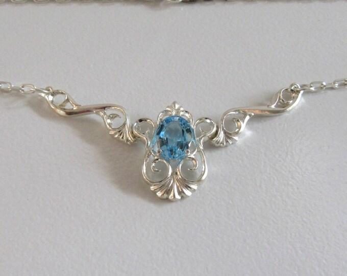 Sterling Silver Blue Topaz Necklace, Sterling Silver Necklace, Blue Topaz Necklace, Vintage Blue Topaz Necklace
