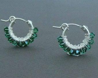 Wire Wrap Emerald Hoop Earrings, Small Hoop Earrings, May Birthstone, Delicate Earrings, Gift For her, Sterling Silver