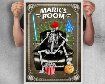 Personalized skeleton poster with a custom name,digital print,skull,skeletons,gothic,Halloween,boys room decor,wall art,Personalized design