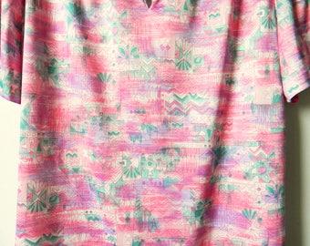 Candy Pink 70s Tiki Blouse / Vintage Retro Tunic Mod Geometric Pattern / Mint Green Purple Bubblegum Pink / Tiki Mod