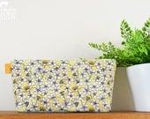 Cherry Flower Pattern Toiletry Wash Bag  Yellow Floral Makeup Bag  Pencil Case  Zip Bag