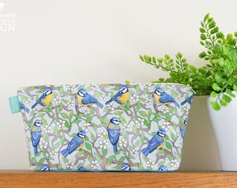 Blue Tit Birds Toiletry Wash Bag / Makeup Bag / Pencil Case / Zip Bag