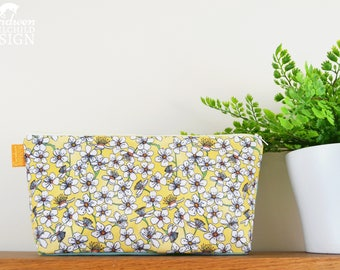Cherry Flower Pattern Toiletry Wash Bag / Yellow Floral Makeup Bag / Pencil Case / Zip Bag