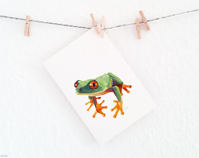 Frog illustration, Frog print, Geometric frog, Minimal nursery art, Amazon wildlife, Frog nursery print, Green print, Frog painting, 8x10