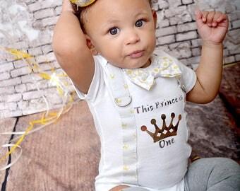 Prince Birthday Boy Bow Tie bodysuit w Leg Warmers, Newsboy hat, Mini party Crown, Cake Smash Bib, First Birthday, Cake Smash, 1st Birthday
