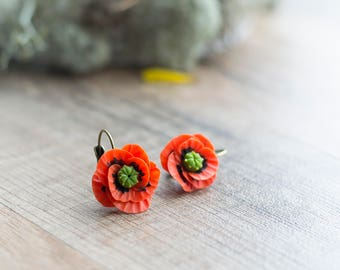 Red poppy earrings - flower earrings - flower jewelry - botanical jewelry - blossom earrings - red earrings - poppy flower - nature earrings
