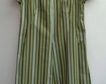 Vintage 1960's Green Stripe Handmade Shift Summer Dress Size UK 16 EU 44 US 12
