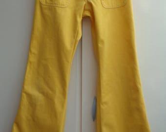 HIGHLIGHT Vintage 1970's Yellow Soft Brushed Cotton Flares Size UK 8-10