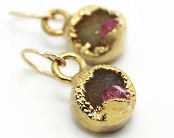 20% OFF SALE druzy earrings, tourmaline earrings, dangle earrings, gold earrings, crystal earrings, pink tourmaline, gifts for her