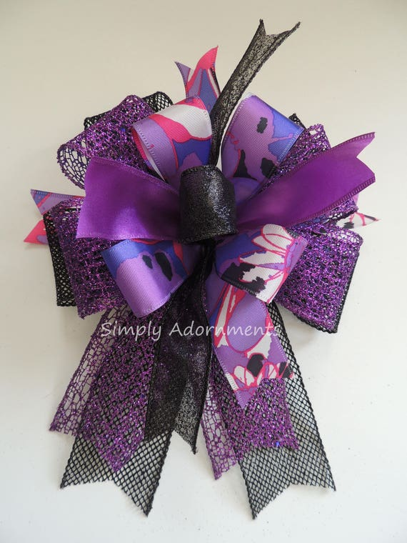 Black Purple Halloween Wreath Bow Halloween Lantern Bow Purple Halloween Door hanger Swag Bow Purple Halloween Party Decor Door wreath Bow