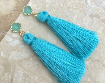 "Turquoise Tassel Earrings Mint Diamond Drops Jewelry Gift, Gift for Her, Anniversary, 2"" Silk Tassels,Bridal Earrings, Bridesmaid Earring"