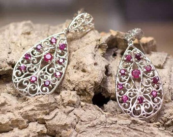 FILIGREE WITH RUBIES | Sterling Silver earrings