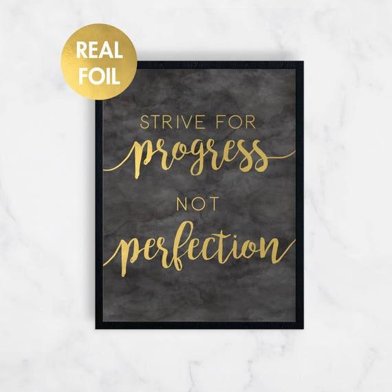 Gold Foil Print Printed Art Progress Print Wall Print Home