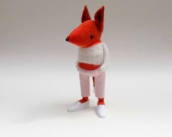 Velvet Fox  -  Handmade plush fox wearing pink felt pants, woolly pullover and white plastic shoes.