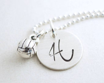 Personalized Volleyball Necklace -Gift for Senior Night - Custom Volleyball Charm - Custom Volleyball Jewelry Hand Stamped Sterling Silver