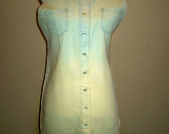 Ombre Studded Denim Dress