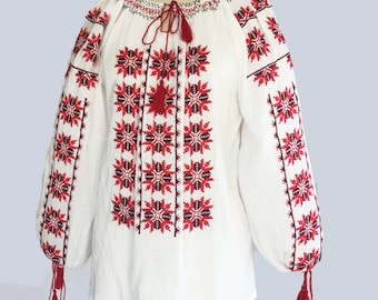 Vintage Embroidered Peasant Blouse / Gauze / Size L / XL