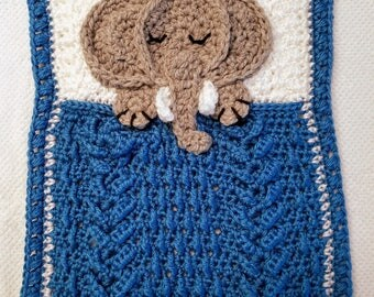 Baby Lovey Security Blanket / Grey Elephant holding Blue and White Blankie while Sleeping / Baby Shower Gift