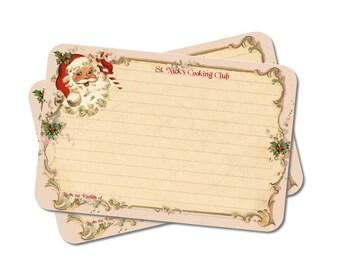Christmas Recipe Cards, 4x6, Santa, St. Nick, Saint Nicholas, Holiday Stationery, Cookie Swap, Cookie Exchange Cards, Set of 12