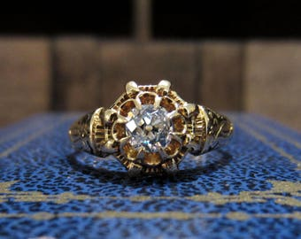 Antique Engagement Ring, Victorian Old Mine Diamond .45ct and Enamel Ring 14k c. 1880, Vintage Engagement Ring, Victorian Engagement Ring