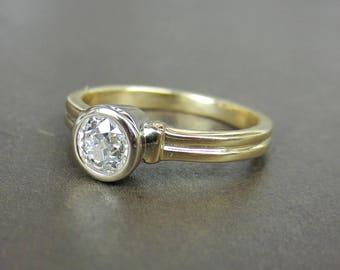 Vintage Engagement Ring, Bezel Set Old Mine Diamond .52ct 14k, Antique Engagement Ring, Art Deco Engagement Ring