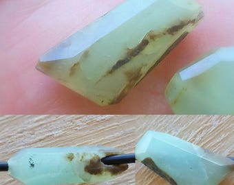 1 - Large Hole - Blue Peruvian Opal - Faceted Focal Nugget Bead, Loose Bead, Faceted Bead, 2mm Big Drill Hole Semi Precious Gemstone Bead