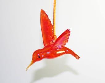 Hand Blown Glass Hummingbird Ornament/Suncatcher - Iridescent Brilliant Orange