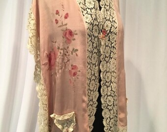 1920's Pink Silk Bed Jacket Hand Painted with Roses, Trimmed with Silk Lace and Ribbon Flowers