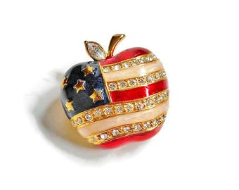 Gold Apple Pin Red White Blue Flag Pattern with Clear Rhinestones Vintage Brooch Gift For Teacher, Sparkly Apple Pin Americana