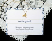 NEW YORK State Necklace - New York City Home State Love Heart Necklace - Gold or Silver Dainty Minimalist with Print - Katya Valera