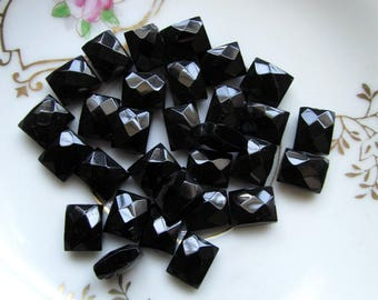 Black Large Rectangle Faceted Glass Beads - 10mm - Pack of 30