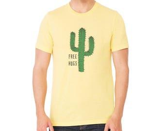 Cactus Shirt | Free Hugs Men's shirt | Cacti t-shirt | Graphic Tees | Desert | Unisex | gift for him | saguaro cactus | Yellow | Men's T