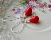 Bright Red Earrings, Red Dangle Earrings, Long Red Earrings, Red Teardrop Earrings, Red Glass Earrings, Tear Drop Earrings UK Jewellery
