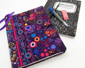Colorful Composition Notebook Cover, Quilted Fabric Journal - Colorful Dots on Deep Purple Notebook