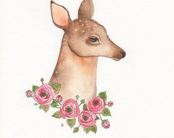 Watercolour deer and pink roses