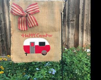 RV Life, Camping Flag, Garden Flag, Burlap Garden Flag, Camper Welcome Flag, Happy Camper Flag, Campsite Flag, Flag for Camper, Hostess Gift