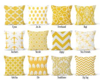 Yellow Pillow Cover, Decorative Throw Pillow, Euro Sham 16 x 16, 18 x 18, 20 x 20, 22 x 22, 24 x 24, 26 x 26