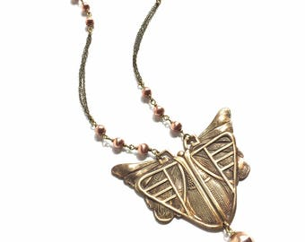 Stunning Art Deco Butterfly Scarab Copper and Oxidised Brass Necklace with Vintage Beads and Tassel
