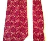 Vintage 1940s Burgundy Swirls Tootal Necktie
