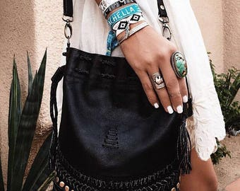 SALE. TRIBAL CHILD. Black leather purse / drawstring purse / drawstring bag / black leather bag / boho bag.
