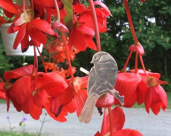 Sterling Silver Chickadee Brooch, Wild Bird Pin, Woodland Gift for Her